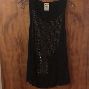 Vocal USA Size Small Black with Rhinestones Tank